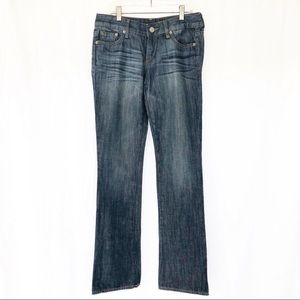 Express [2] Long Bootcut Dark Wash Mid Rise Jeans